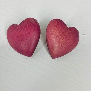 Jewelry - 🎉5 for $25🎉 Pink Wood Heart Earrings